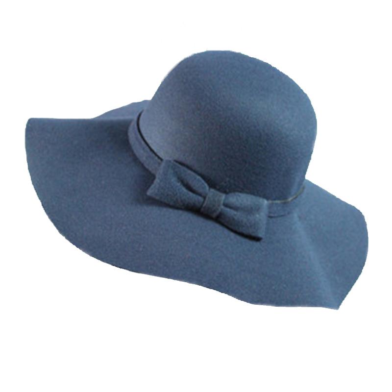 099430308fb7b Get Quotations · 2015 Fashion Style Soft Women Bow Vintage Retro Fedora Hat  Wide Brim Wool Felt Bowler Floppy