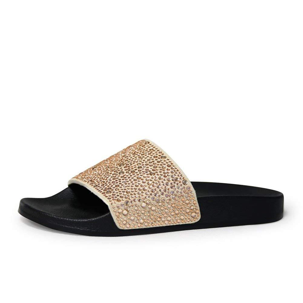 5faa154c3b5 Get Quotations · Women Slippers Summer Slides Diamond Bling Glitter Slides  Flip Flops Beach Sandals Sliver Gold Women Shoes