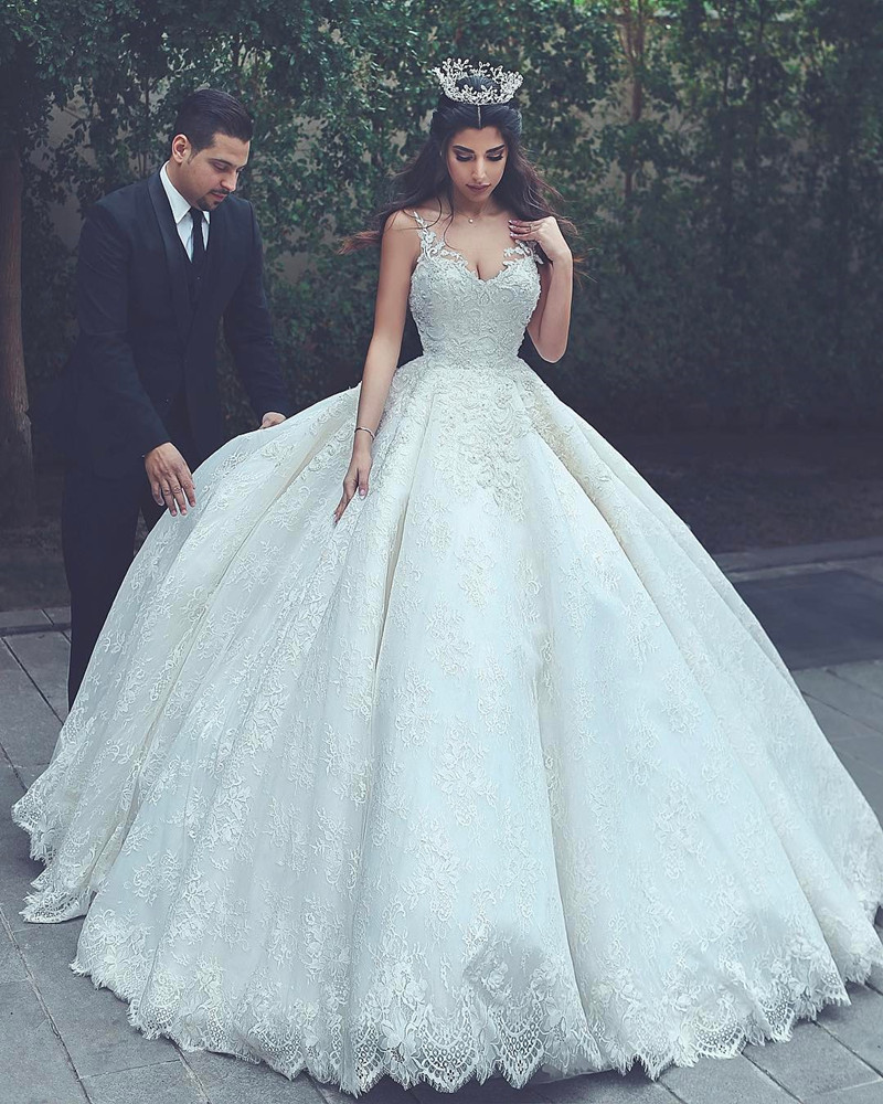 Vintage Wedding Dresses Under 1000: New Design 2018 Princess Lace Wedding Dress Ball Gown With