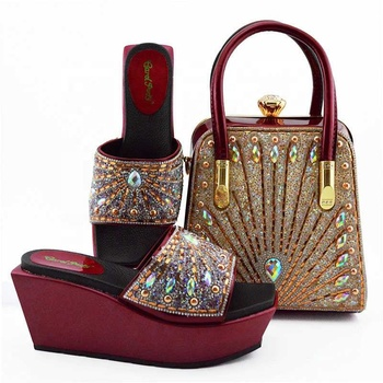 AB8578 women high heels shoes matching clutch bags for wedding