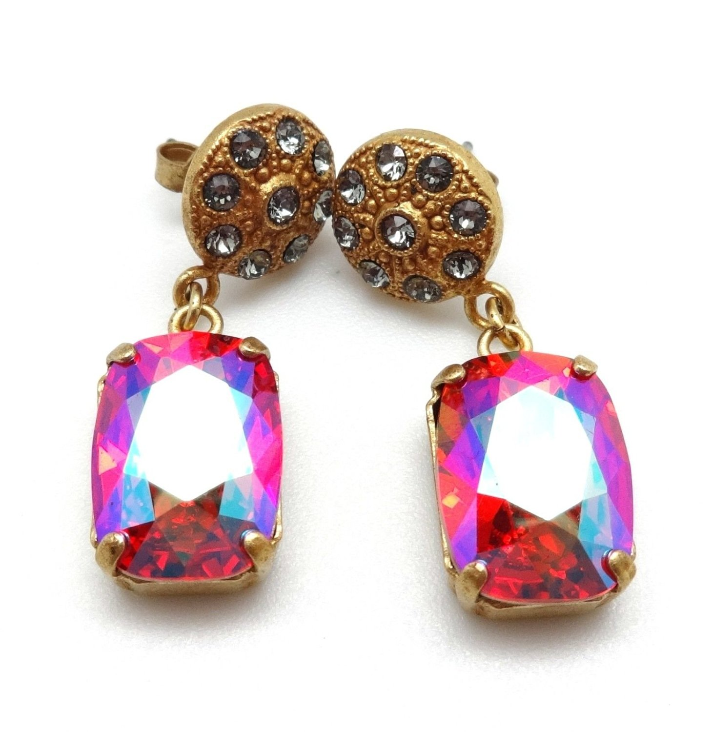 ea8cbe916 Get Quotations · Catherine Popesco Fuchsia AB with Dark Grey Swarovski  Crystal Gold Plated Post Earrings