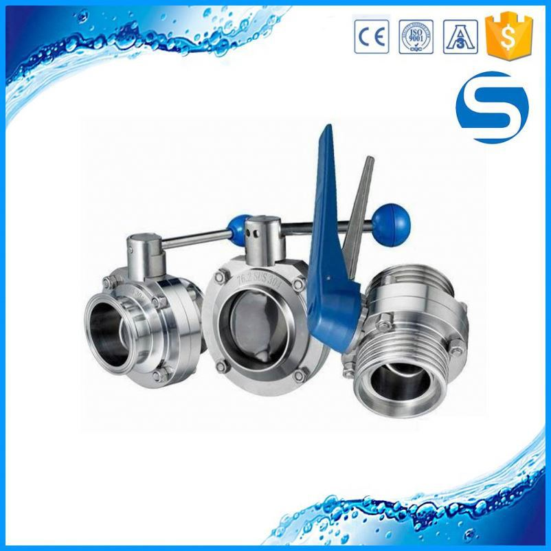 Food industry 3 piece butterfly valve