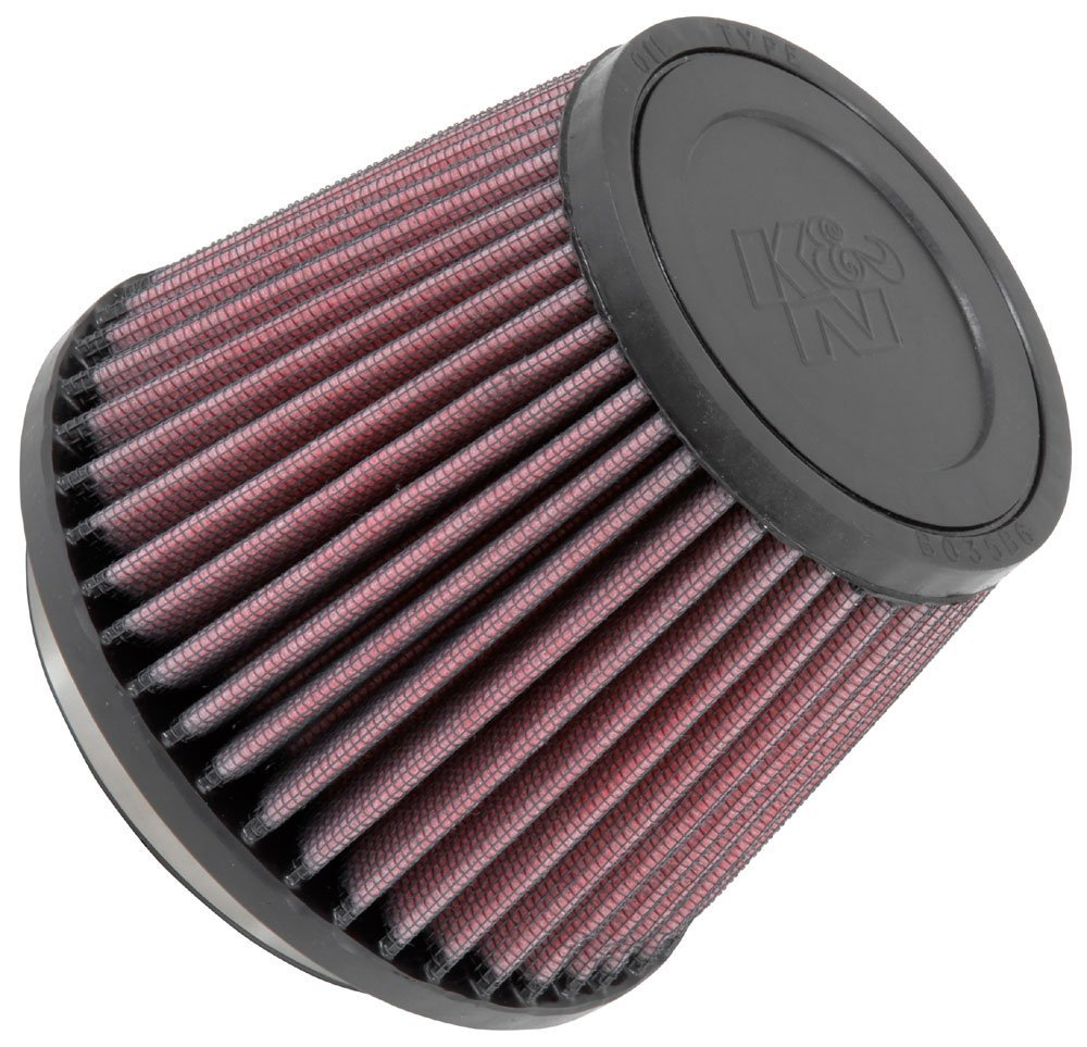 K&N RU-2990 Universal Clamp-On Air Filter: Round Tapered; 3.5 in (89 mm) Flange ID; 4 in (102 mm) Height; 5 in (127 mm) Base; 3.5 in (89 mm) Top