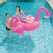 Bestway pink inflatable giant flamingo float rider pvc floating pool toy lilo