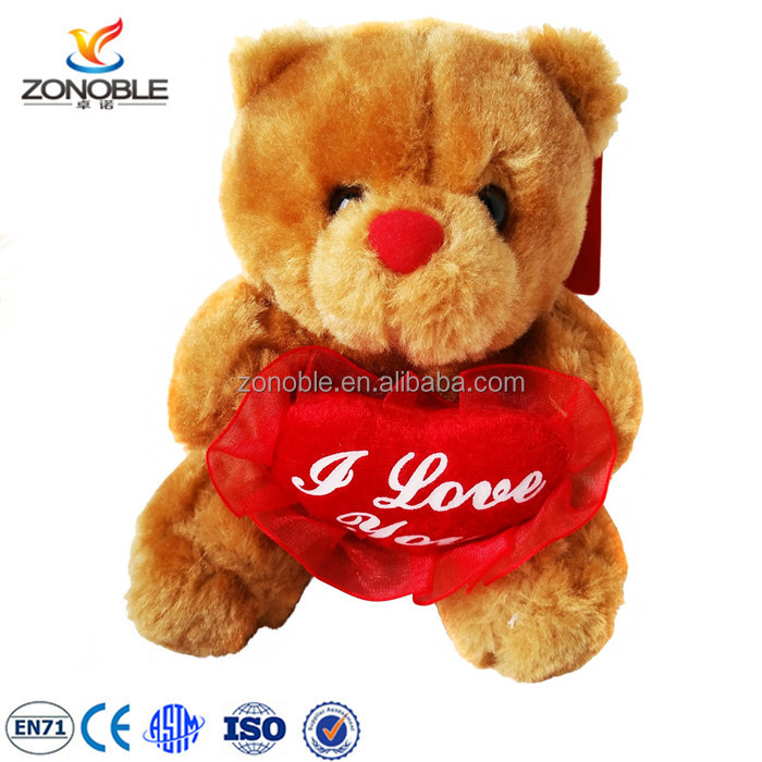 Custom plush valentine bear lovely stuffed plush teddy bear with red heart