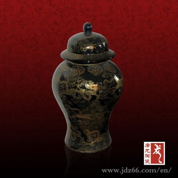 Dragon Design Gold Plated Black Chinese Vase With Lid Buy Black