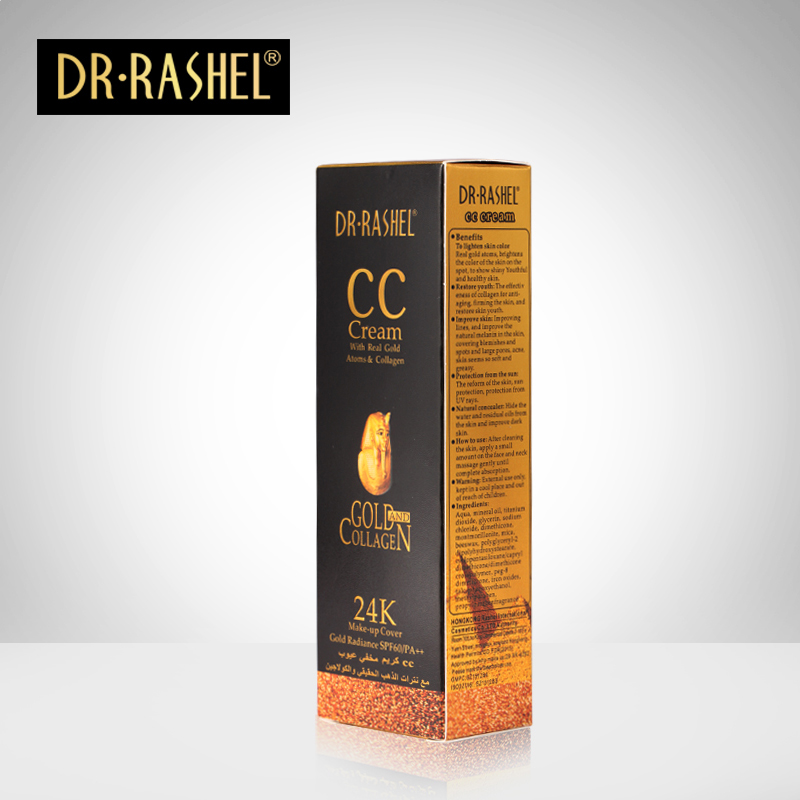 DR.RASHEL SPF 60 Makeup Cover 50ml Whitening Face Cream 24K Gold Collagen CC Cream