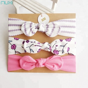 3 Pcs Baby Bow Hair Bands Elastic Headband Set With Paper Card