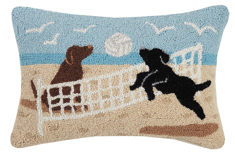 """Peking Handicraft Beach Volleyball Hook Pillow, 14x20"""" Throw"""
