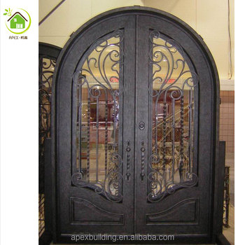 Arched Double Entry Door With Transom Buy Wrought Iron Double
