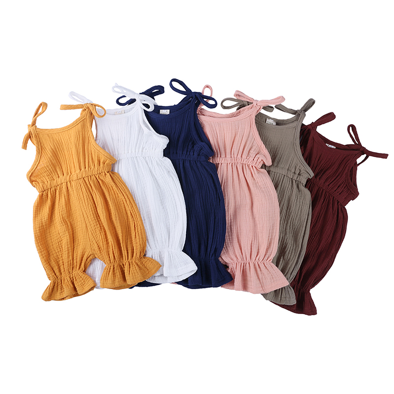 Wholesale baby girl clothes summer Girl's Overall Ruffle Overall For Girls baby rompers linen kids clothes
