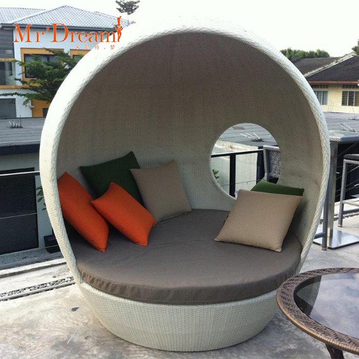 Mr.Dream European style hotel outdoor beach modern round rattan day beds sofa