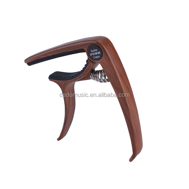 Easy Release Rose Wood / Sapele Color Guitar Capo Clamp with Bridge Pin Puller