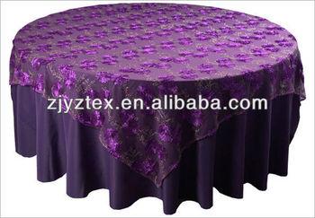 Marvelous Fancy Purple Rose Petal On Mesh Table Overlay For Weddings