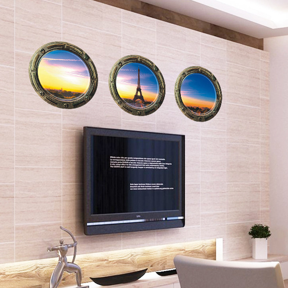 JK219 3D Three-Dimensional PVC Interior Wall Stickers 3 Dawn Eiffel Tower Custom Wallpaper Stickers