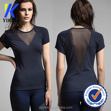 China wholesale plain nylon spandex t-shirt woman raglan sleeve deep v-neck t shirt sports dry fit mesh t shirts