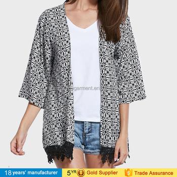 4bd13f2c08f Women spring summer long sleeve loose printed chiffon blouse beach jacket  plus size japanese open long