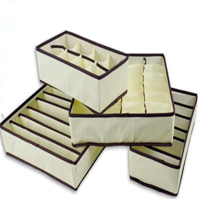 4 pcs bo te de rangement soutien gorge sous v tements cravate chaussettes shorts tiroir diviseur. Black Bedroom Furniture Sets. Home Design Ideas