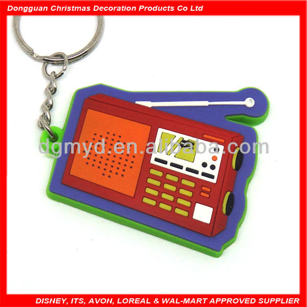 radio shape soft pvc fish keychain
