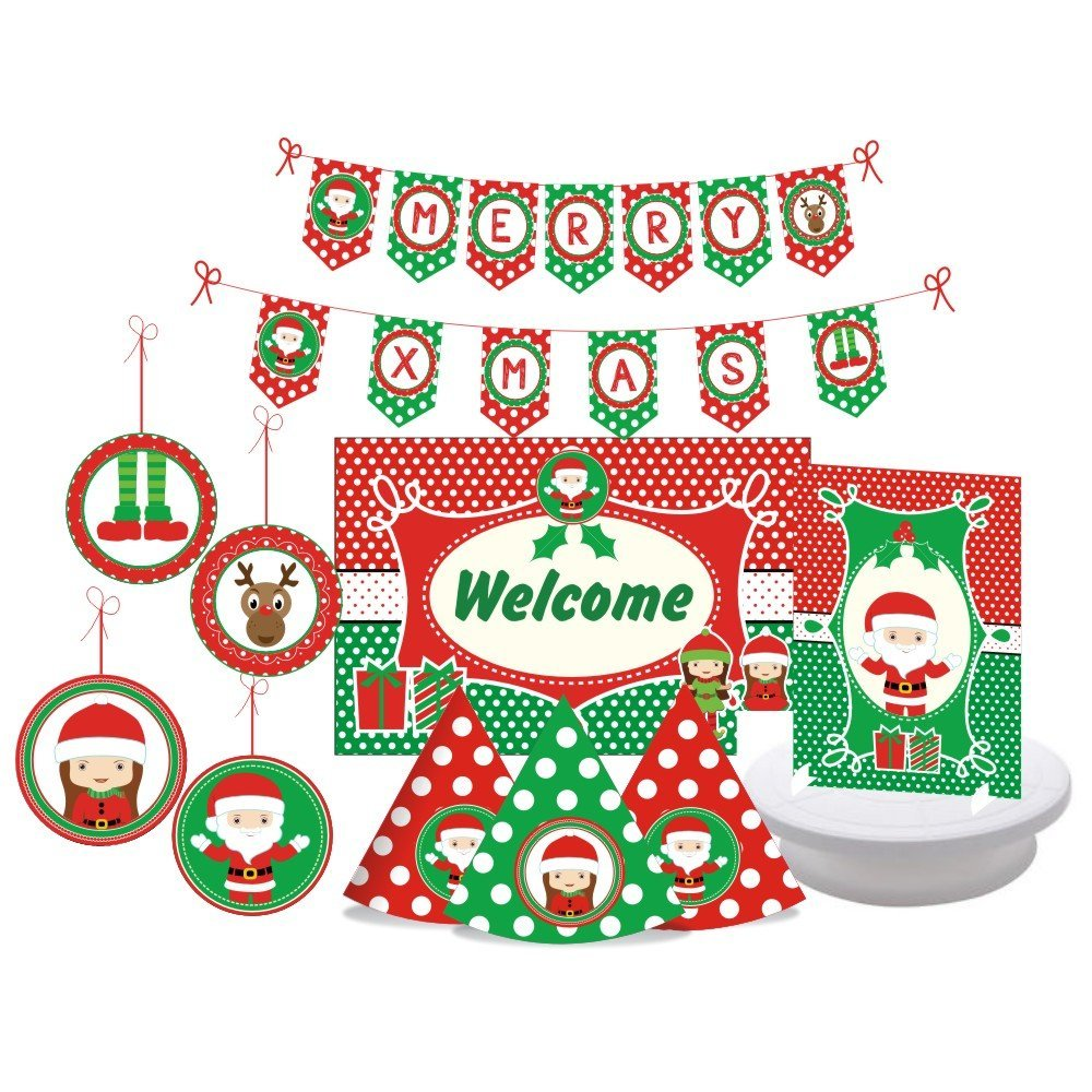 get quotations christmas party supplies 25 piece decorating kit includes 15 party hats 2 centerpieces