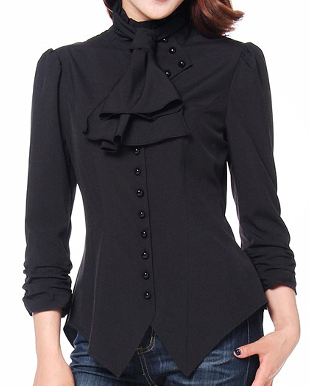 cf1d68039131ff Get Quotations · CSDttT XS-XXL Pearl Goddess - Black Pearl Button Victorian  Gothic Blouse Top