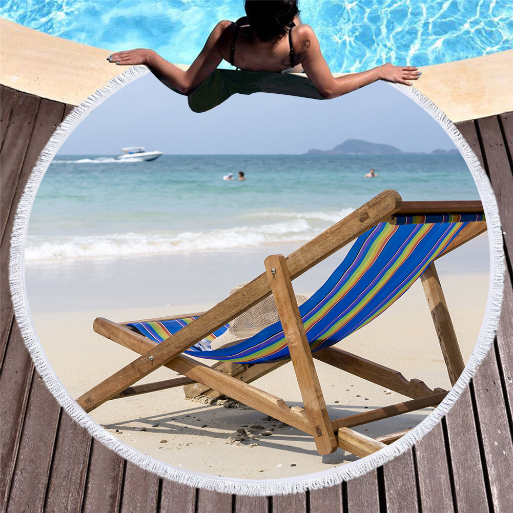 custom-made printed 3D digital printing shawls Summer beach holiday round beach towel