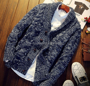 winter heavy cable knit shawl collar cardigan for men