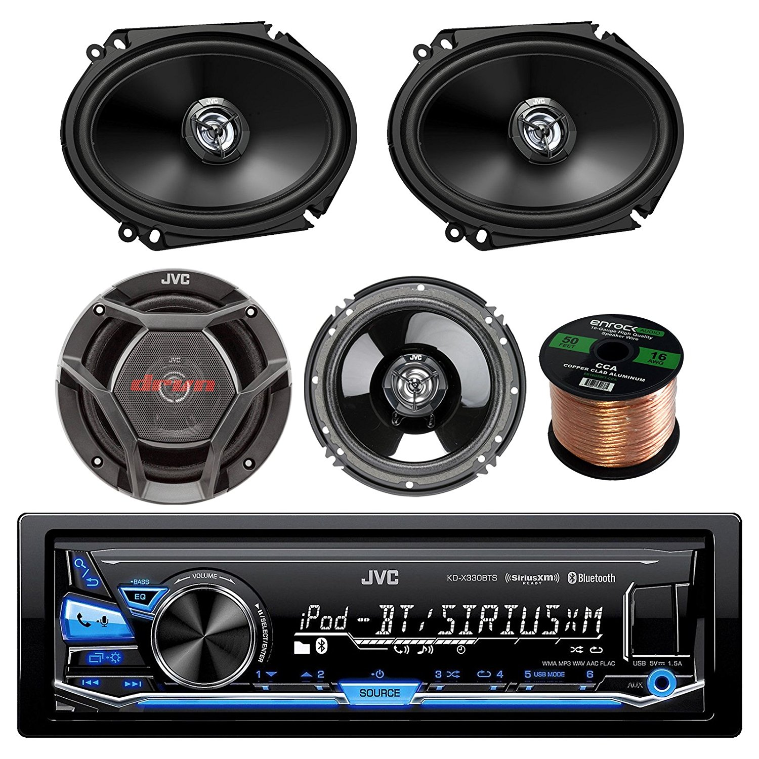 "JVC KD-X330BTS AM/FM USB AUX Car Stereo Receiver Bundle Combo With 2x CS-DR6820 300-Watt 6x8"" Inch Vehicle Coaxial Speakers + 2x CS-DR620 6.5"" Inch 2-Way Audio Speakers + Enrock 50 Feet 16-Gauge Wire"