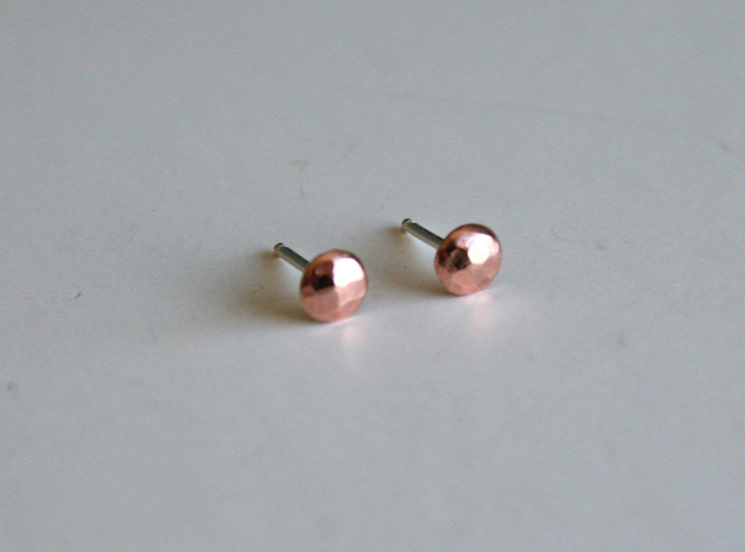 Simple Copper Pebble Earrings, Post Earrings, Stud Earrings, Silver and Copper Hammered, Small Earrings, Dot Earrings, Polished Earrings 4mm earrings, Rose Gold Color Earrings, Stud Earrings