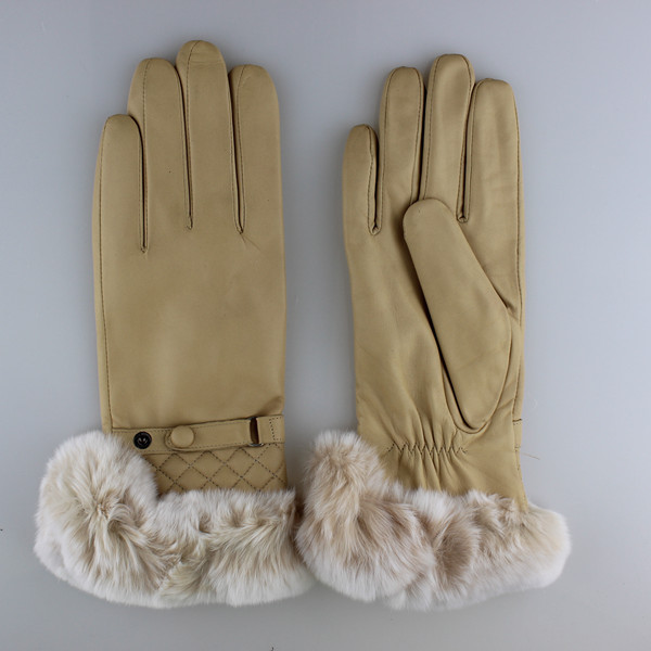 fur glove rex rabbit cuff genuine hand gloves manufactures in China
