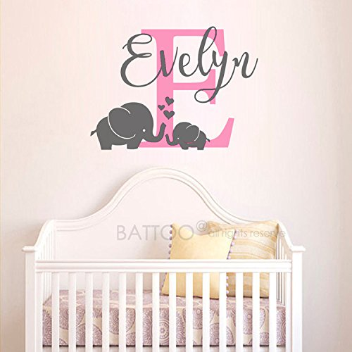 BATTOO Name Elephant Wall Decal - Girls Boys Name Wall Decal - Personalized Name Decal - Baby Nursery Wall Decal - Elephant Mom and Baby Wall Decals