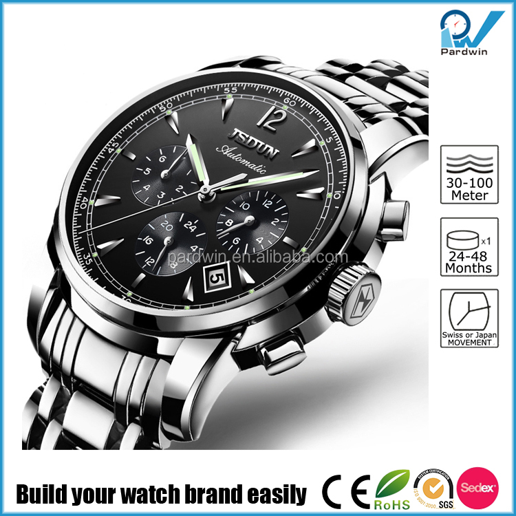 High class stainless steel strong luminous custom logo 5ATM water resistance functional Automatic watch for men