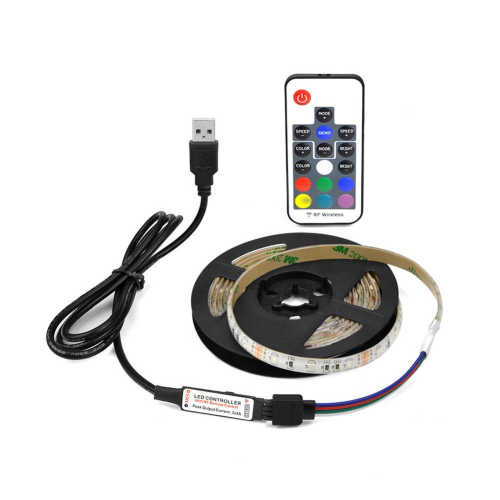 3 Warranty 200cm  60leds USB SMD5050 RGB 5V tv backlight  led strip light with 17keys RF controller