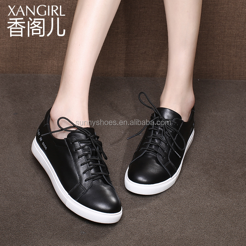 2017 popular black handmade genuine leather sports shoes for women