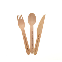 100pcs Bulk Disposable Wooden Cutlery Eco Friendly Spoon Fork Knife