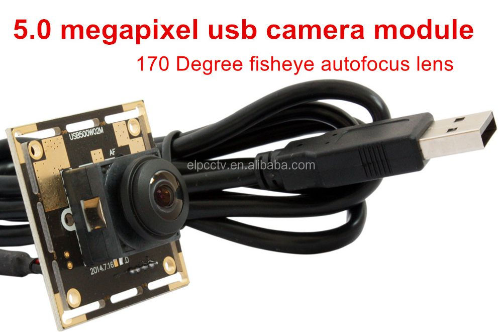 ELP Wide Angle 5Megapixels High Resolution OV5640 Sensor Module PCB Mini Auto Focus Camera USB With 170degree fisheye lens