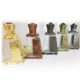 Trapezoidal cylinder carved oil perfume bottle with imitation stone cap