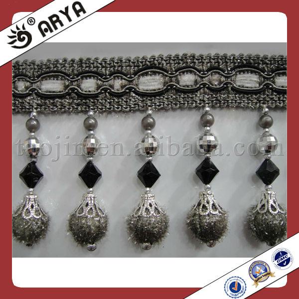 Beads Curtain Tassel Fringe Trim With Novel Pompom Design Made In ...