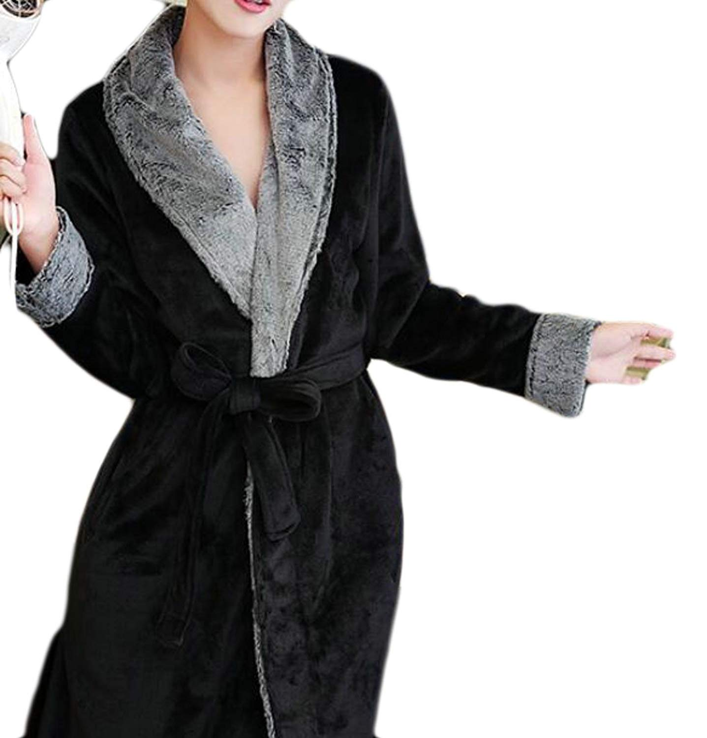 Get Quotations · XQS Womens Plush Thick Housecoat Classic Bathrobe Flannel  Robes 0a38abe5c