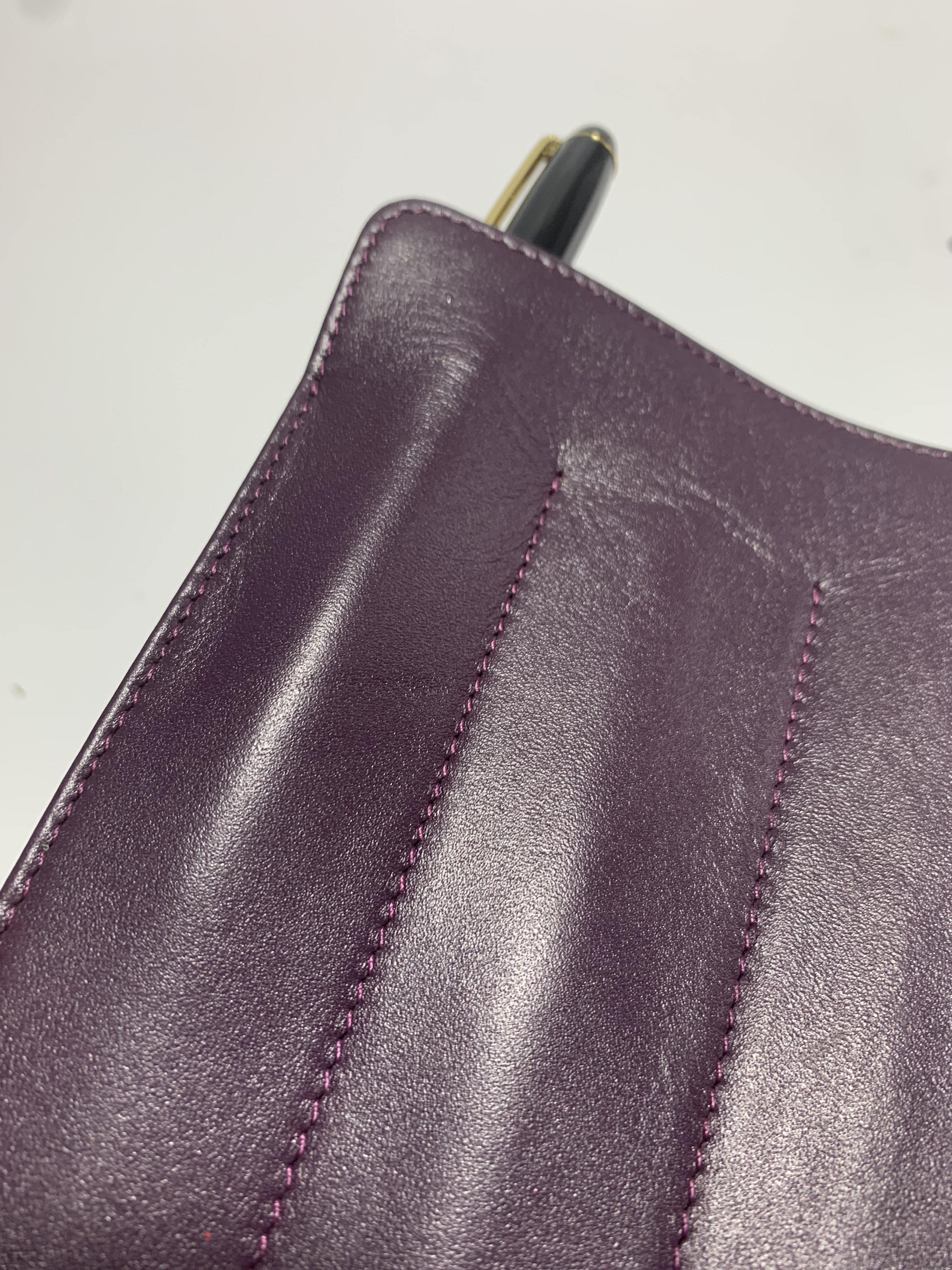 custom 3 slot purple leather pen pouch/holder
