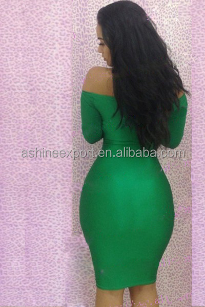 Green Sexy Evening Disco Long Sleeve Big Ass Dress Bodycon Woman ...