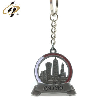 Fashion trend wholesale personalized customization 3d bronze silver Classical building style metal keychain