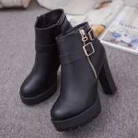 W92219A 2015 new design women shoes leather boots ladies high heel ankle boots