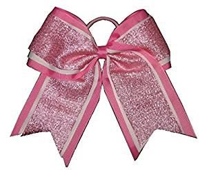 "NEW /""SPARKLE DOTS Light Pink/"" Cheer Bow Pony Tail Ribbon Hair Bows Cheerleading"