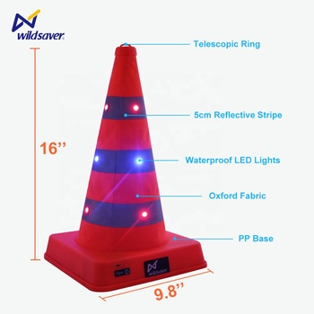 Roadway Safety Patent Waterproof Foldable Glow in the Dark USB Rechargeable LED Flashing Collapsible Traffic Cone Warning Light
