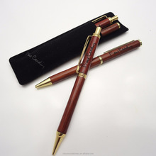 Customized Logo Wooden ball pen and Mechanical Pencil set with gold trims