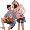 LY227 Wholesale cotton Pajamas Summer Couple Pajamas Short-Sleeved Shorts Home Service Suits 100% Cotton Sleepwear Set
