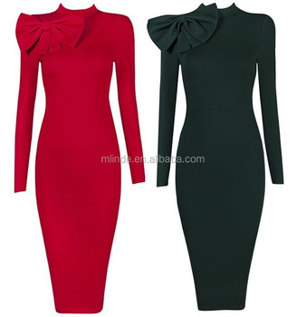 Plus Size Long Sleeve Uniforms Women Fashion Ol Long Form Bodycon Dress  Elegant Bow Red Nlack Pencil Party Bow Dresses Vintage - Buy Bow  Dresses,Bow ...
