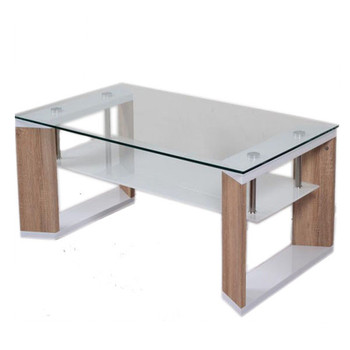 Modern Cheap Glass Wooden Coffee Table With Glass Top