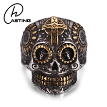 Hot Sale Gothic Biker Jewelry Men Stainless Steel Skull Ring